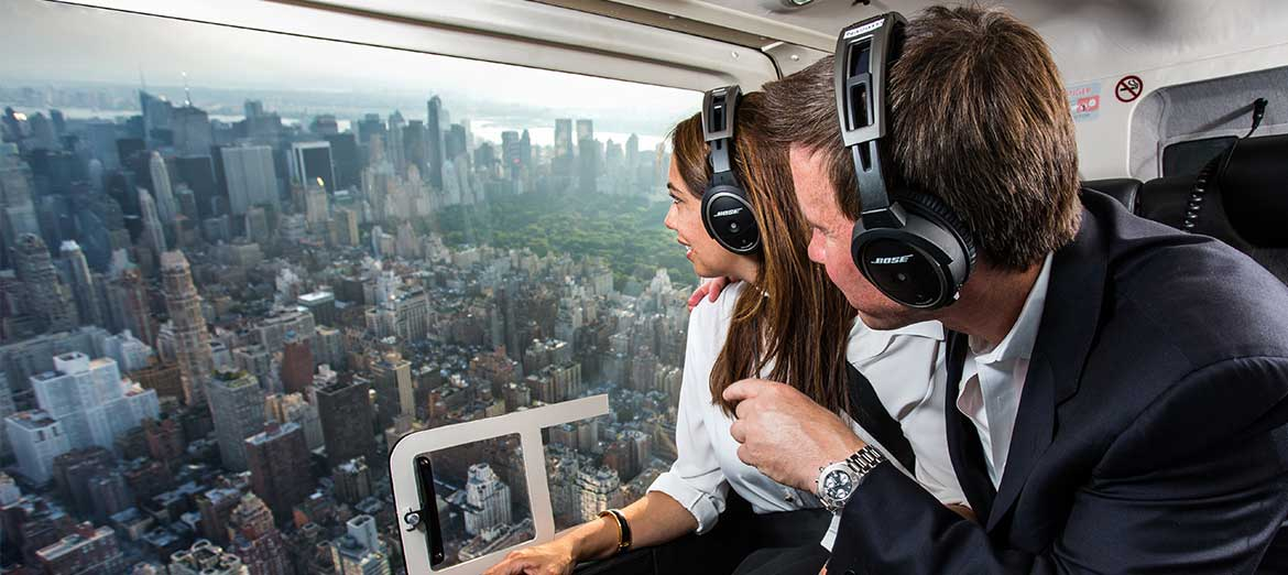 couple on a helicopter tour of New York City